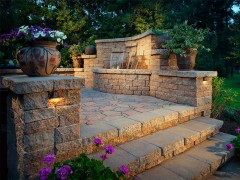Landscape lighting-Waterfall in Retaining Wall