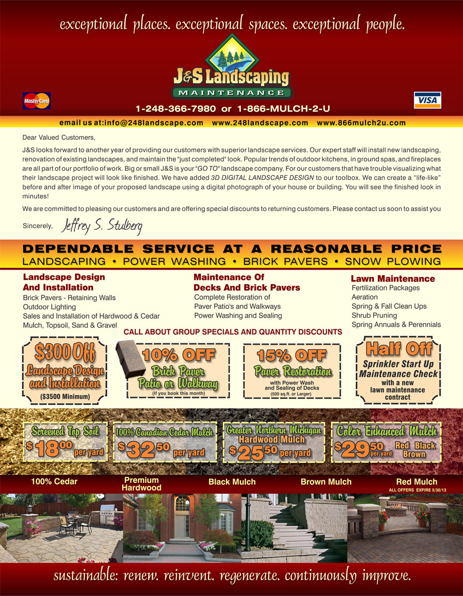Monthly Specials + Discounts from J & S Landscaping in Walled Lake Michigan