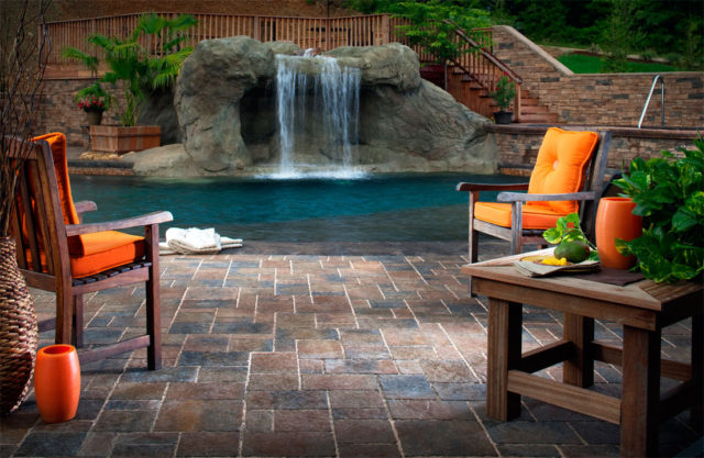patio with sm. waterfall